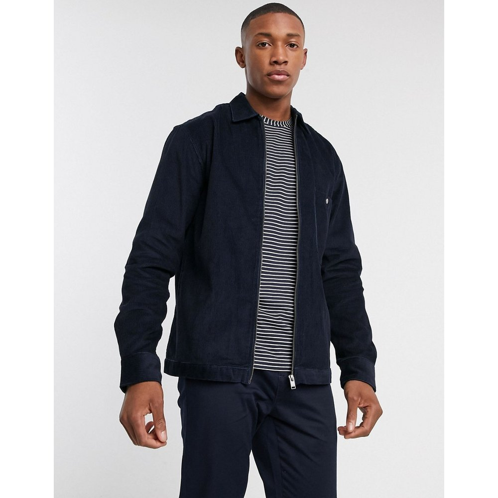 Veste ample en velours côtelé à fermeture éclair - Bleu marine - Selected Homme - Modalova