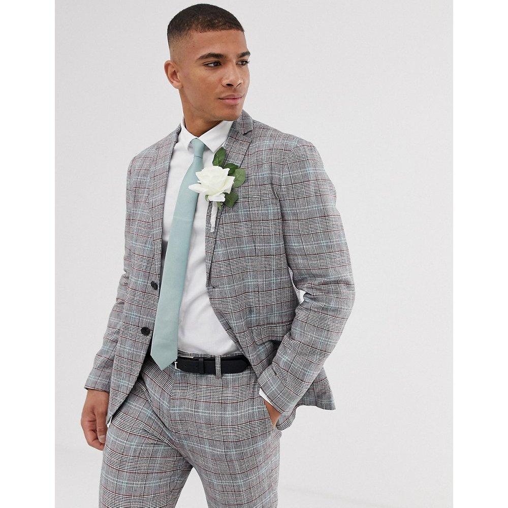 Veste de costume ajustée en lin et coton à carreaux - Selected Homme - Modalova