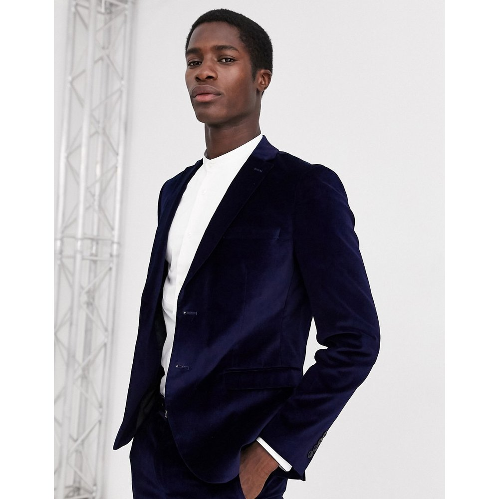 Veste de costume coupe slim en velours - Bleu marine - Selected Homme - Modalova