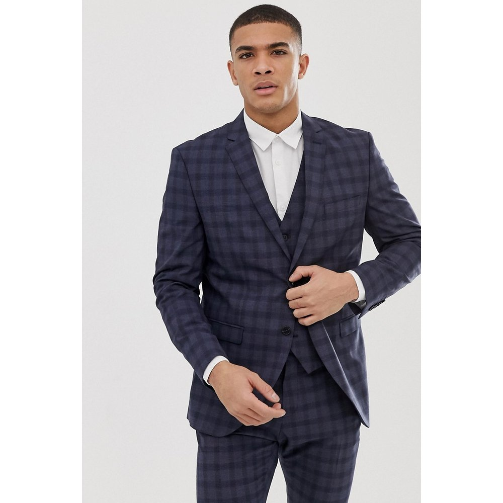 Veste de costume slim - Carreaux bleu marine - Selected Homme - Modalova
