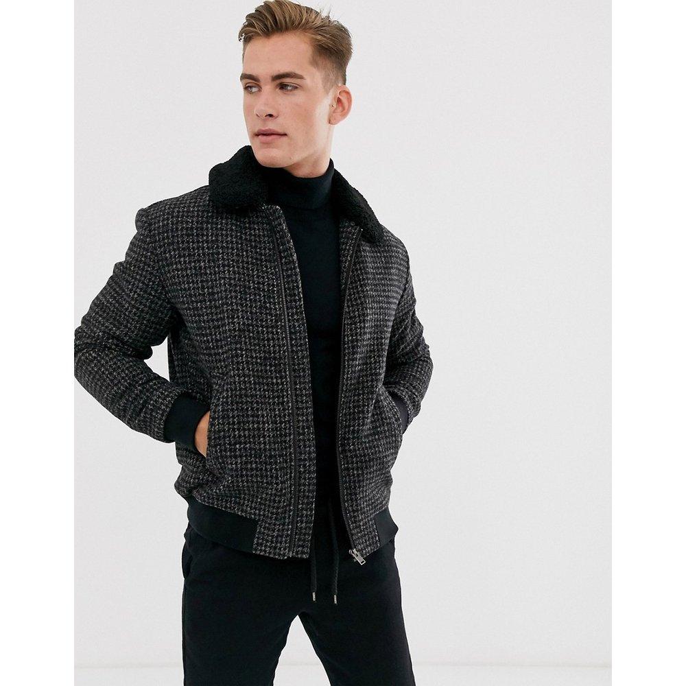 Veste flight en laine avec col imitation peau de mouton amovible - Selected Homme - Modalova