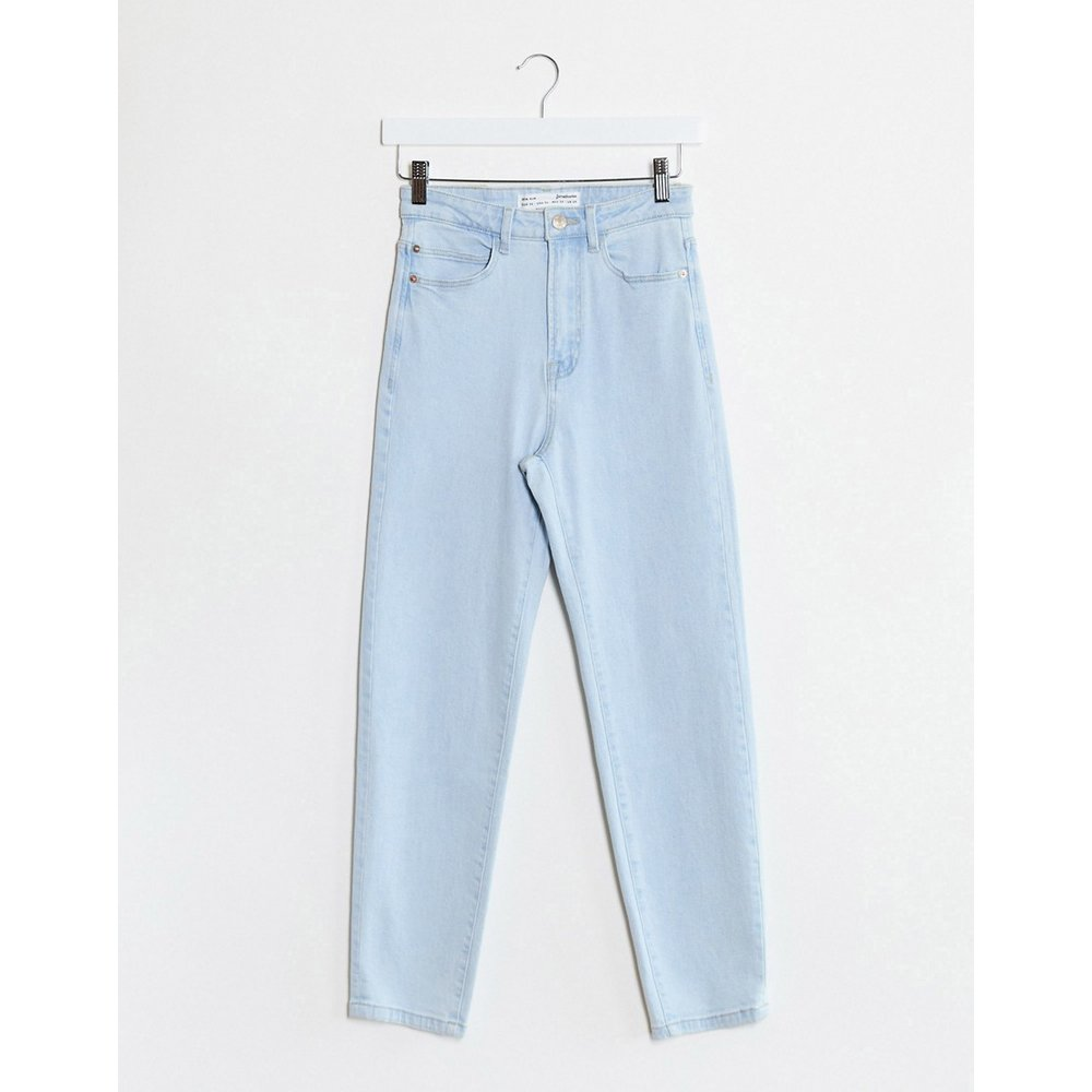 Jean mom slim stretch délavé - clair - Stradivarius - Modalova