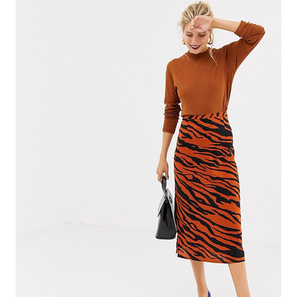 Jupe mi-longue imprimé tigre - Orange - Stradivarius - Modalova