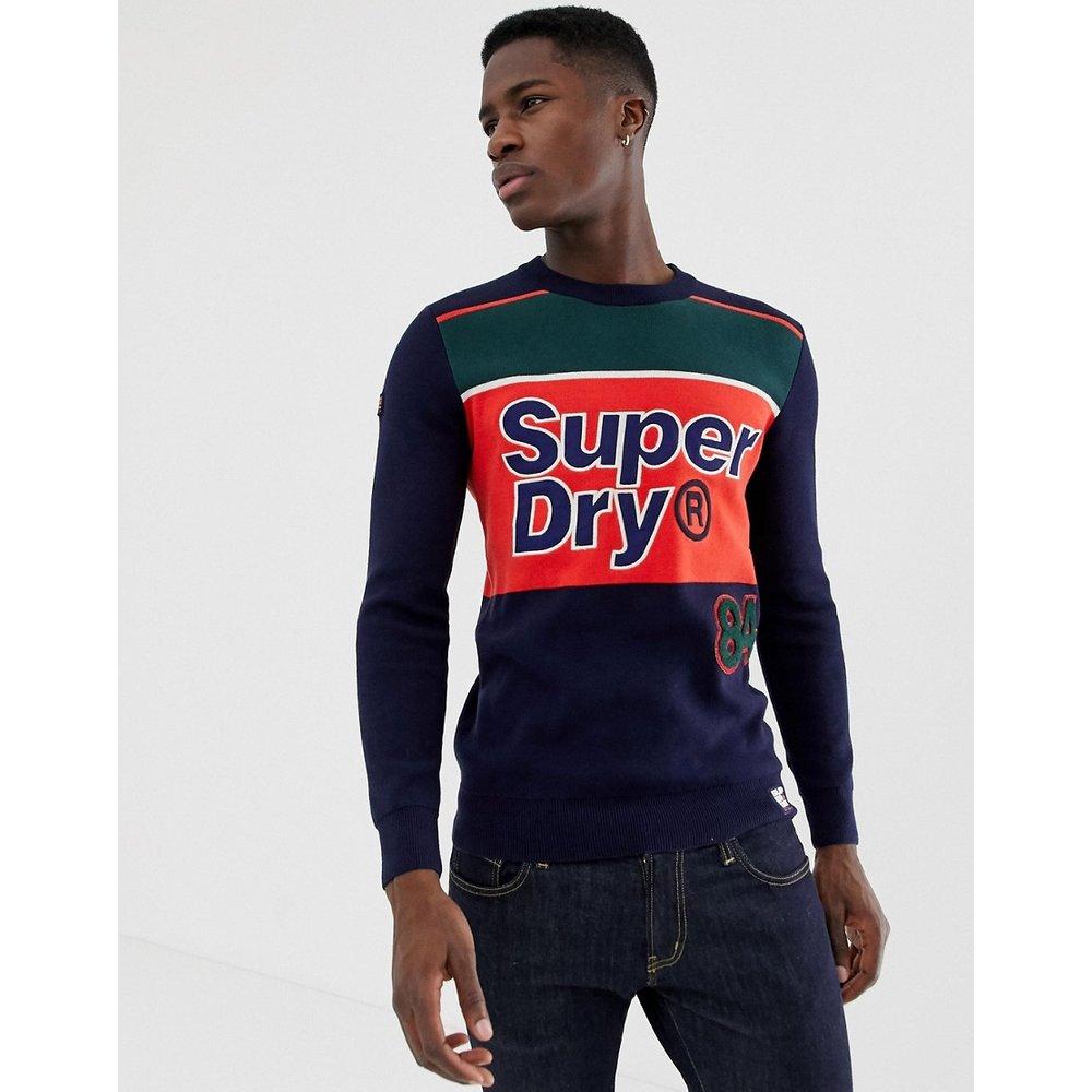 Pull ras de cou avec méga logo - Bleu marine - Superdry - Modalova