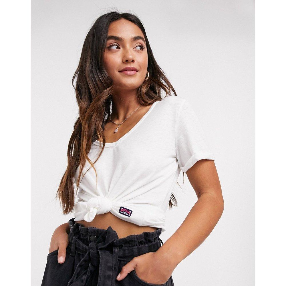 T-shirt col V en tissu dévoré - Superdry - Modalova