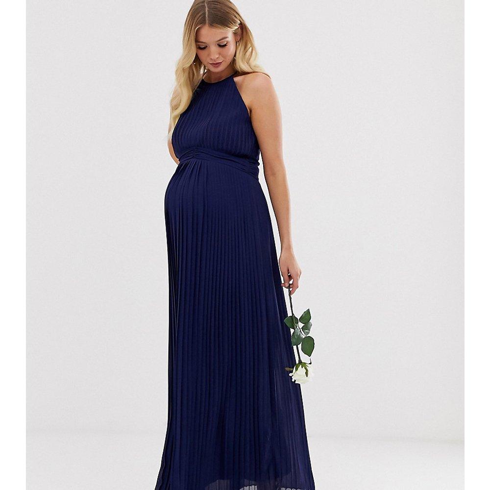 Exclusivité - Robe longue plissée à col montant pour demoiselle d'honneur - Bleu marine - TFNC Maternity - Modalova