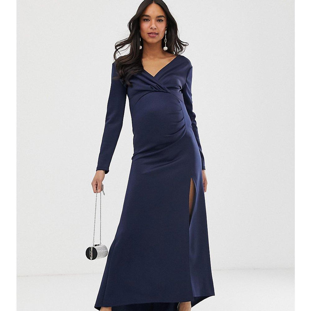Robe portefeuille longue en néoprène - Bleu marine - TFNC Maternity - Modalova