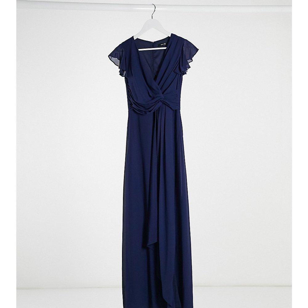 Robe longue de demoiselle d'honneur avec volants et manches évasées - Bleu marine - TFNC Petite - Modalova