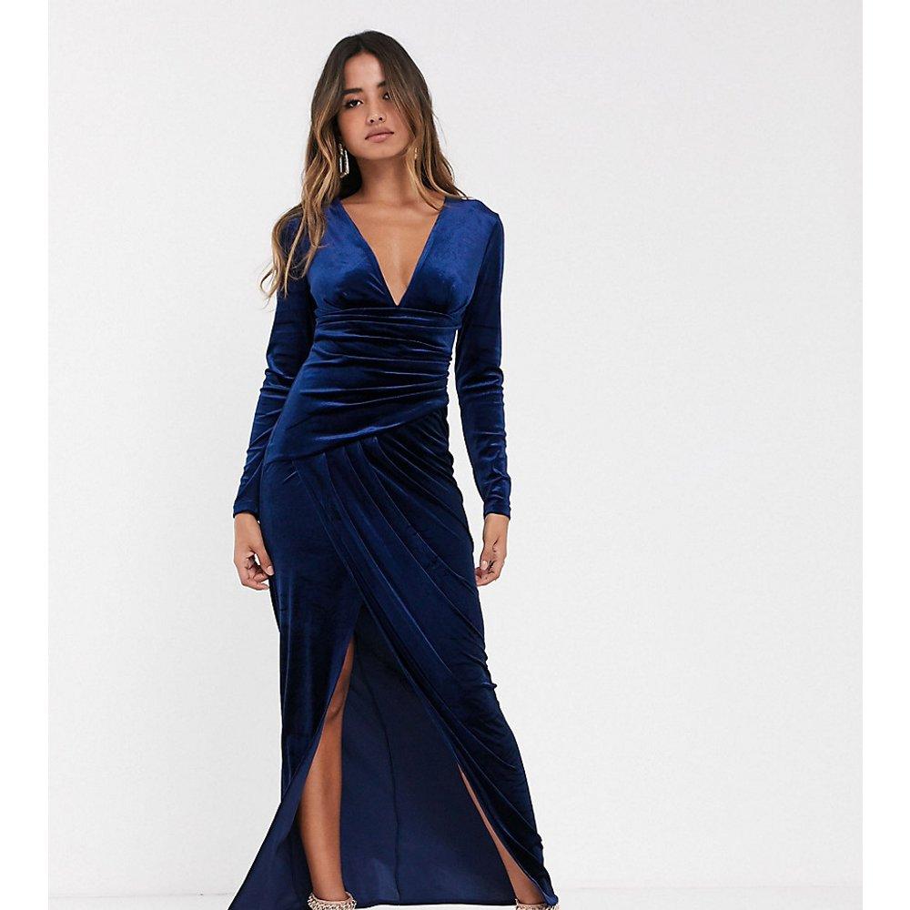 Robe cache-cœur longue en velours - Bleu nuit - TFNC - Modalova
