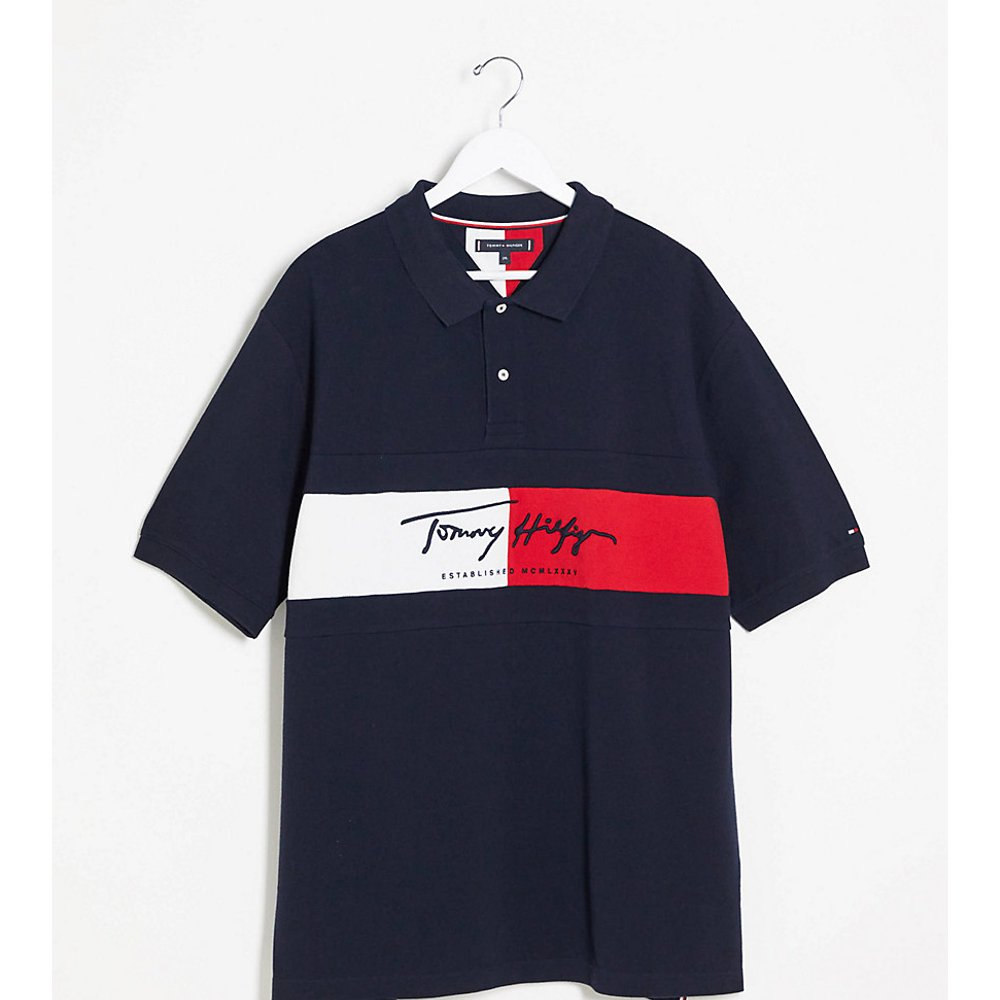 Big and Tall - Autograph - Polo coupe slim avec logo drapeau - Bleu marine - Tommy Hilfiger - Modalova