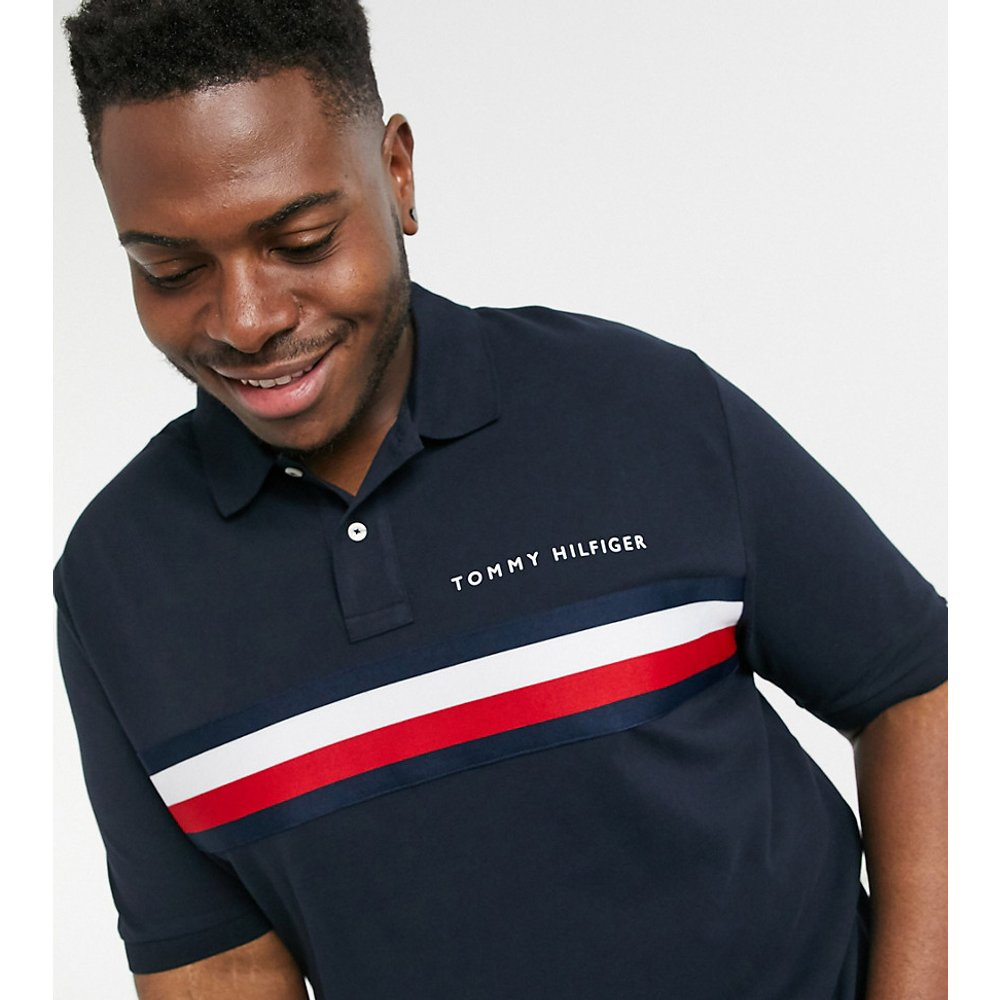 - Big and Tall - Global - Polo coupe slim à rayures sur le devant - Bleu marine - Tommy Hilfiger - Modalova