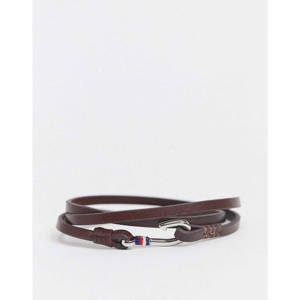 Bracelet triple tour en cuir avec fermoir style nautique - Tommy Hilfiger - Modalova