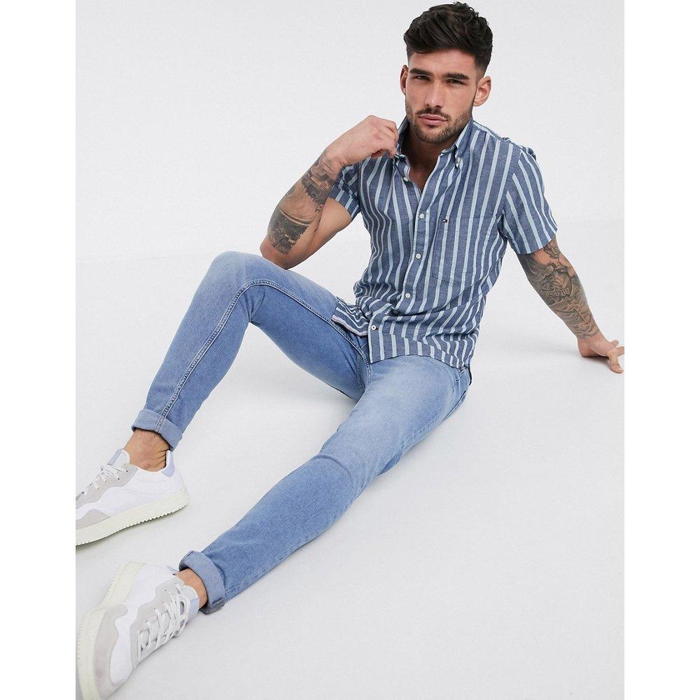 Chemise manches courtes slim en coton/lin à larges rayures et logo drapeau -Encre / souvenir - Tommy Hilfiger - Modalova