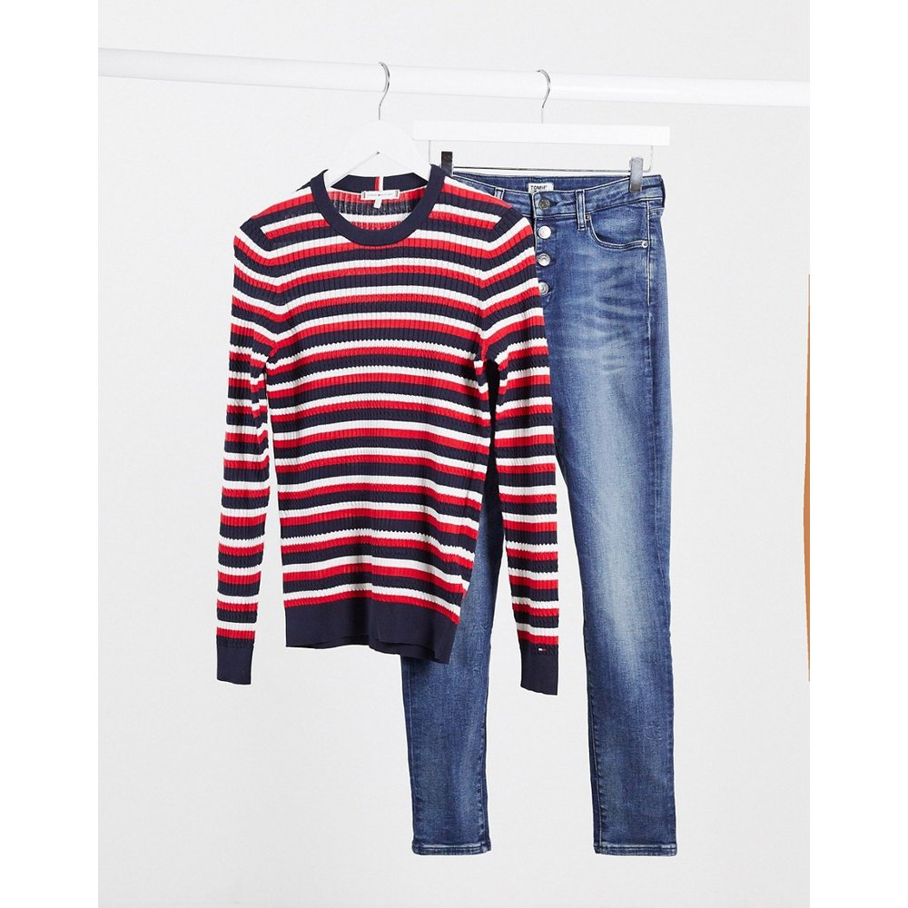 Pull en maille - Rayures multicolores - Tommy Hilfiger - Modalova