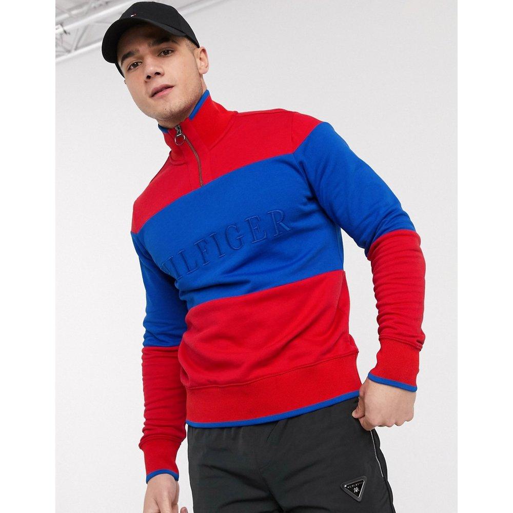 Sweat-shirt à demi fermeture éclair et logo sur la poitrine effet color block ton sur ton - primaire - Tommy Hilfiger - Modalova