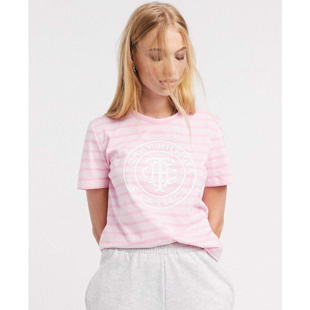 T-shirt avec logo rond sur le devant et rayures - Tommy Hilfiger - Modalova
