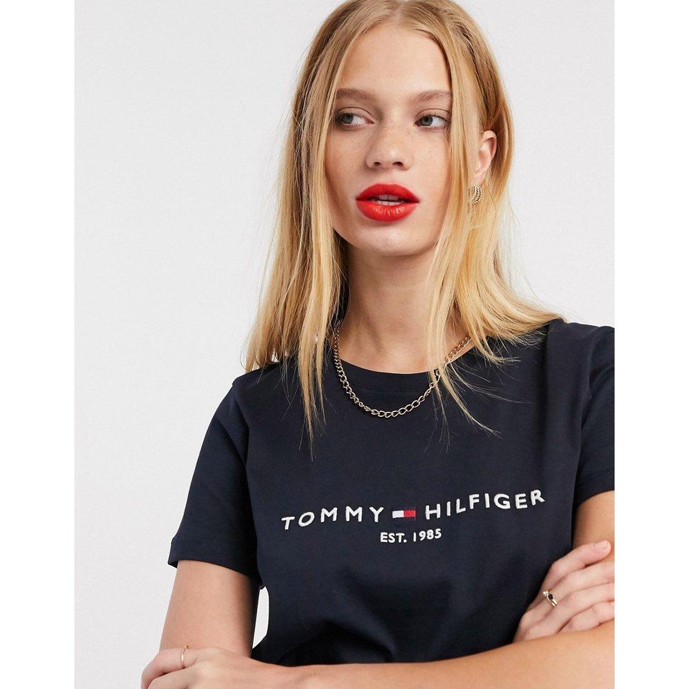 T-shirt avec logo sur le devant - Bleu foncé - Tommy Hilfiger - Modalova