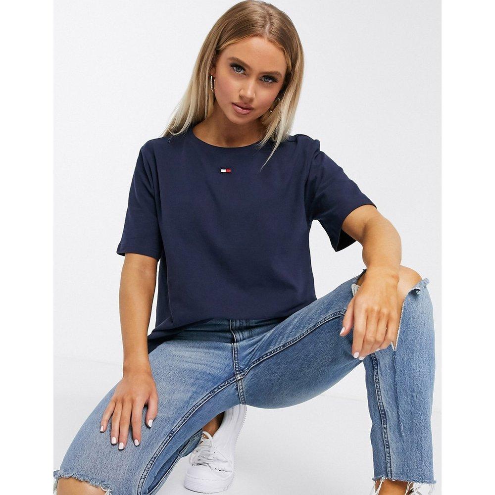 T-shirt en coton avec drapeau - Bleu marine - Tommy Hilfiger - Modalova