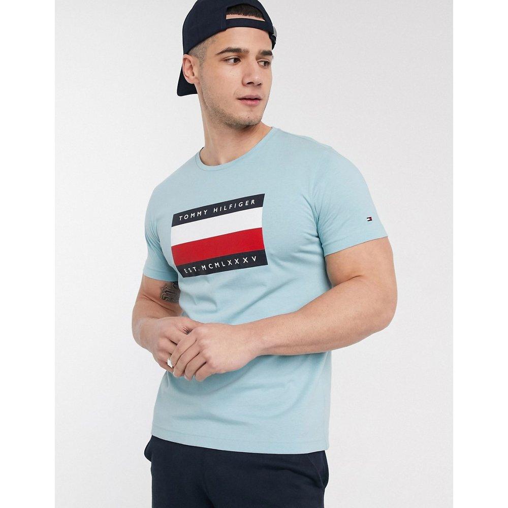T-shirt imprimé avec logo emblématique encadré et rayures - Horizon - Tommy Hilfiger - Modalova
