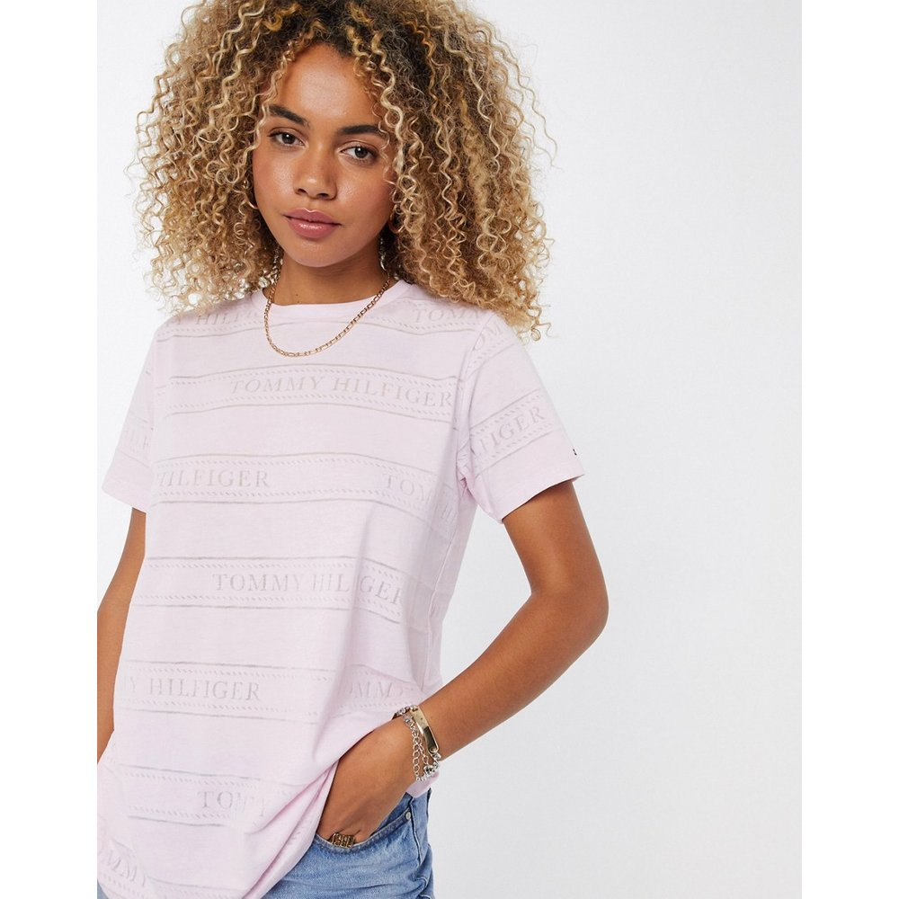 T-shirt ras de cou à rayureseffet color block - Tommy Hilfiger - Modalova