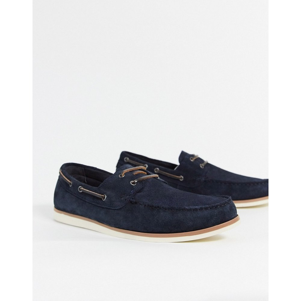 Chaussures bateau en daim - Bleu marine - Topman - Modalova
