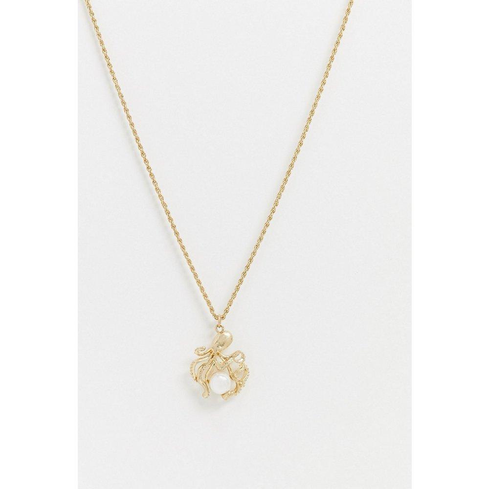 Collier en chaîne avec pendentif octopus et perle - Topman - Modalova