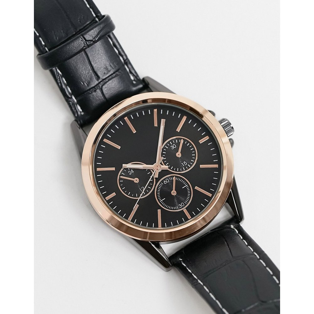 Montre chronographe en similicuir - Topman - Modalova