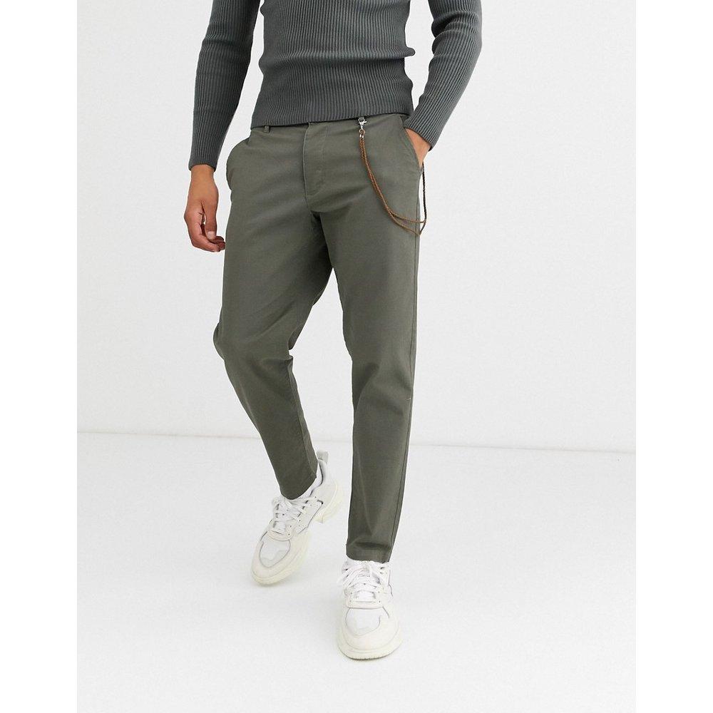 Pantalon chiné ajusté avec chaîne - Kaki - Topman - Modalova