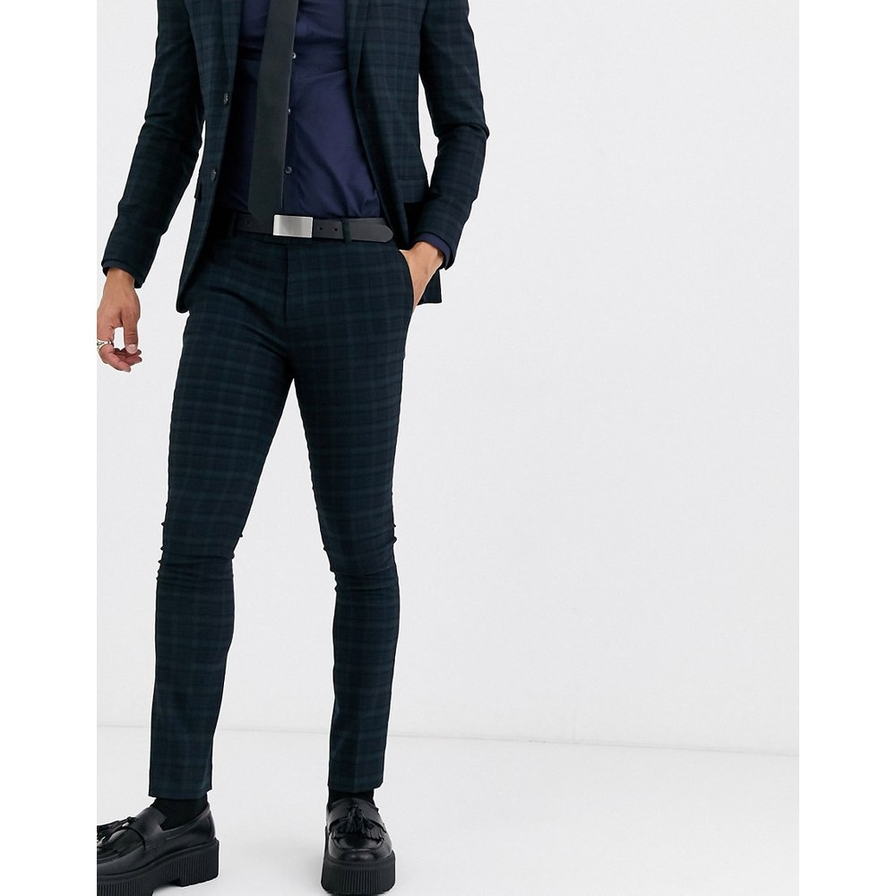 Pantalon de costume super slim à carreaux - Bleu marine - Topman - Modalova