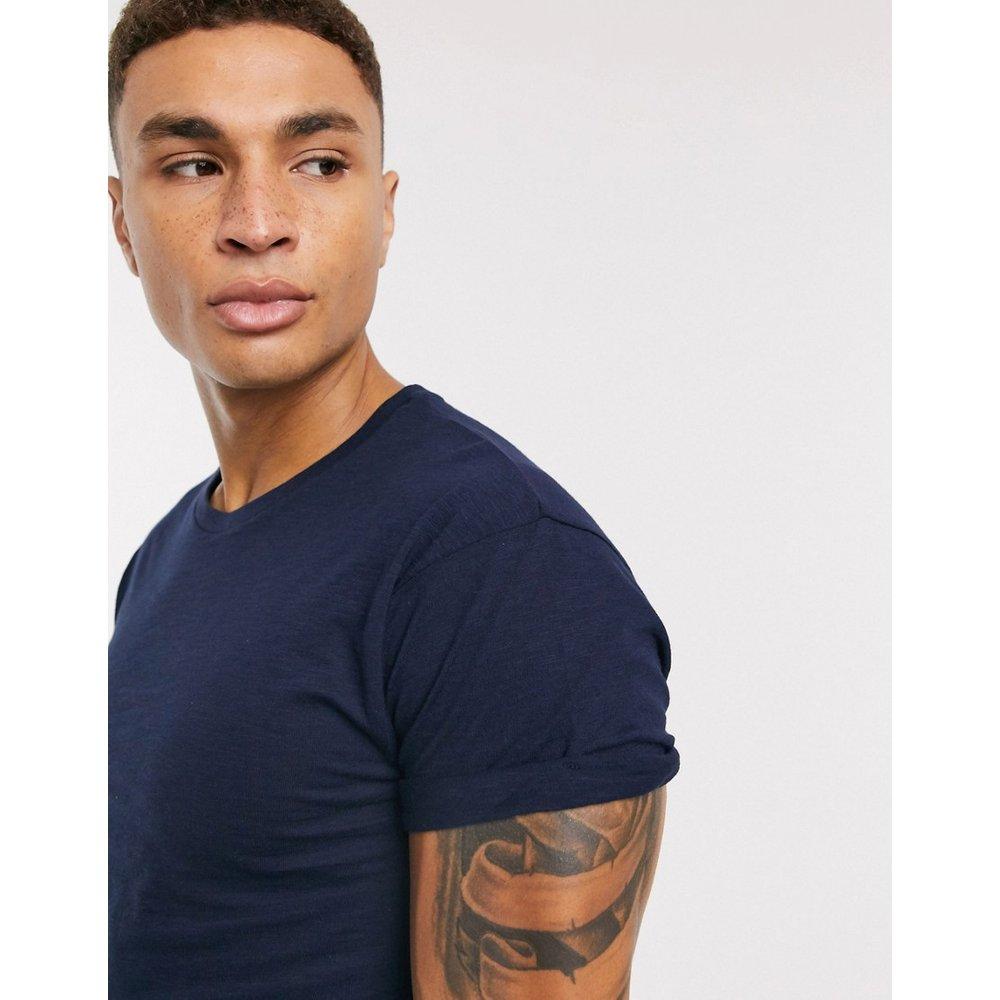 T-shirt à manches retroussées - Bleu marine - Topman - Modalova
