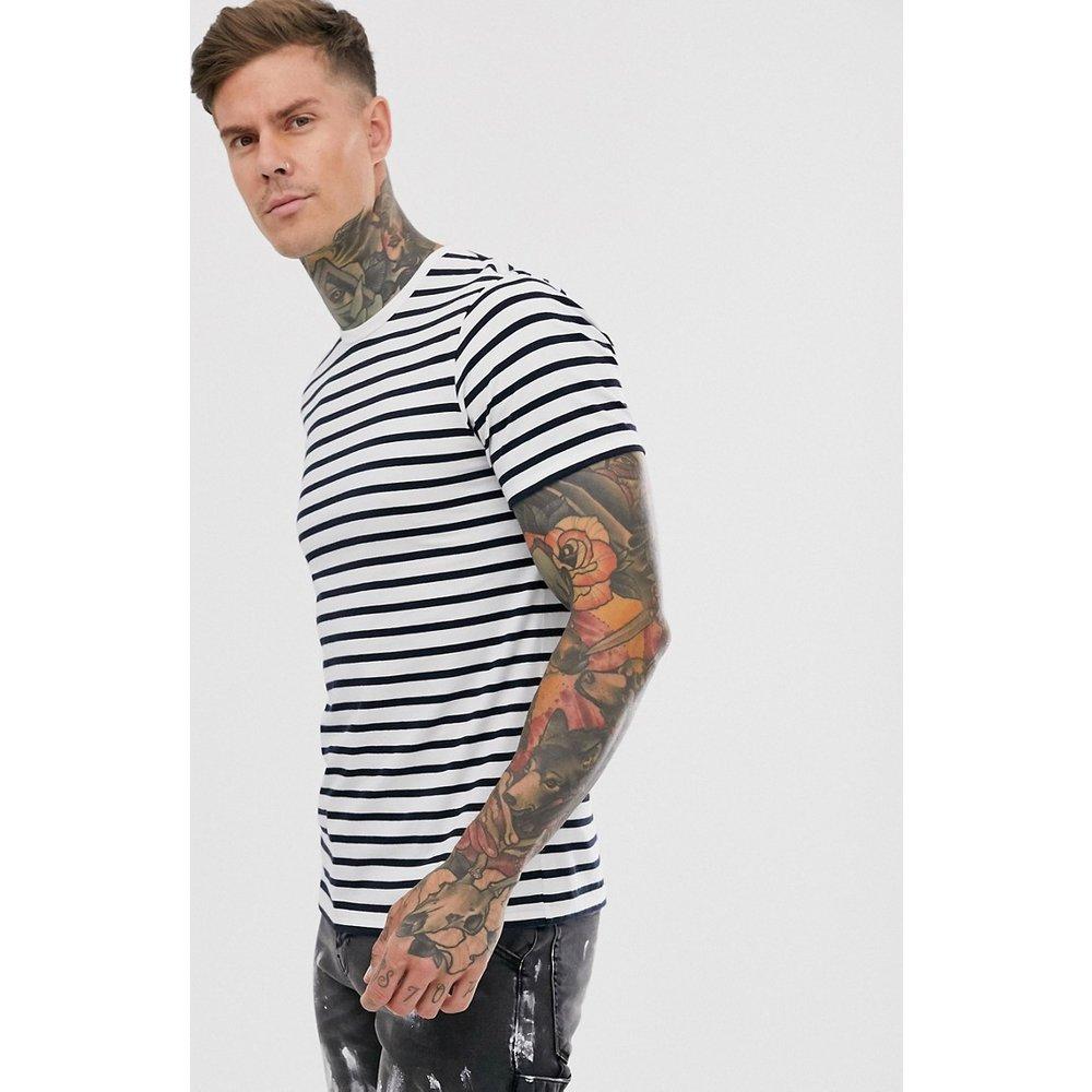T-shirt à rayures - Bleu marine et blanc - Topman - Modalova