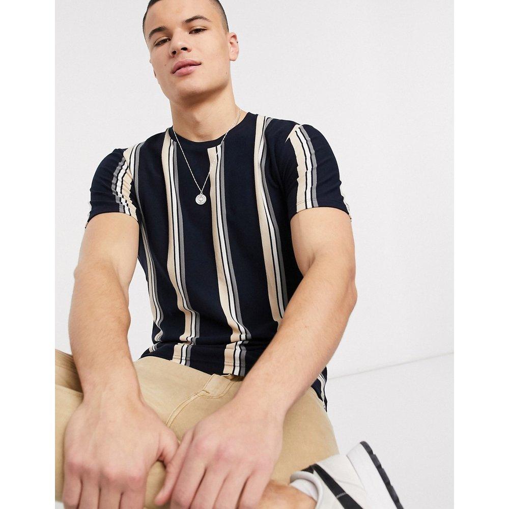 T-shirt à rayures - Bleu marine et fauve - Topman - Modalova