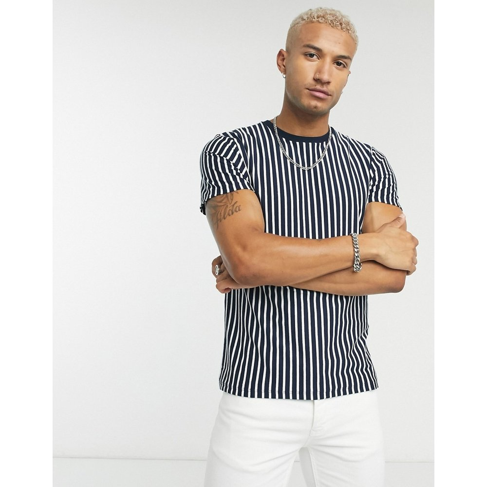 T-shirt à rayures horizontales - Blanc et bleu marine - Topman - Modalova
