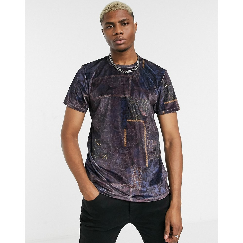 T-shirt en velours à motif cachemire - Violet - Topman - Modalova