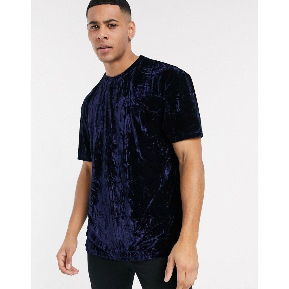 T-shirt en velours - Bleu marine - Topman - Modalova