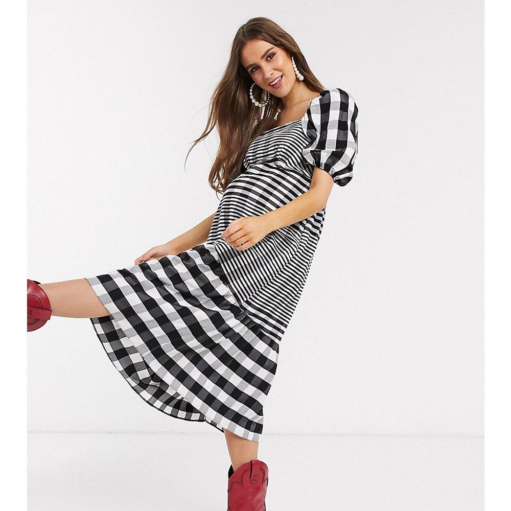 Robe mi-longue à rayures - Noir et - Topshop Maternity - Modalova