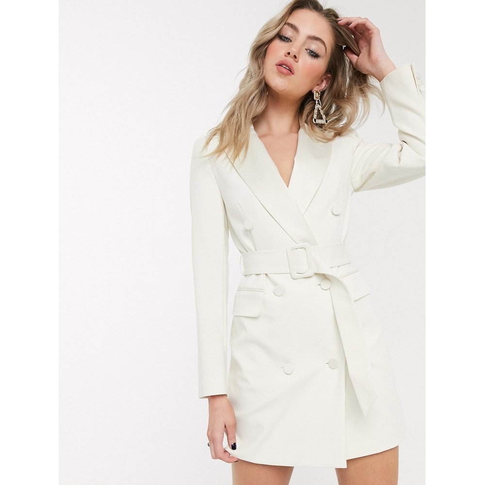 Robe blazer style smoking - Ivoire - Topshop - Modalova