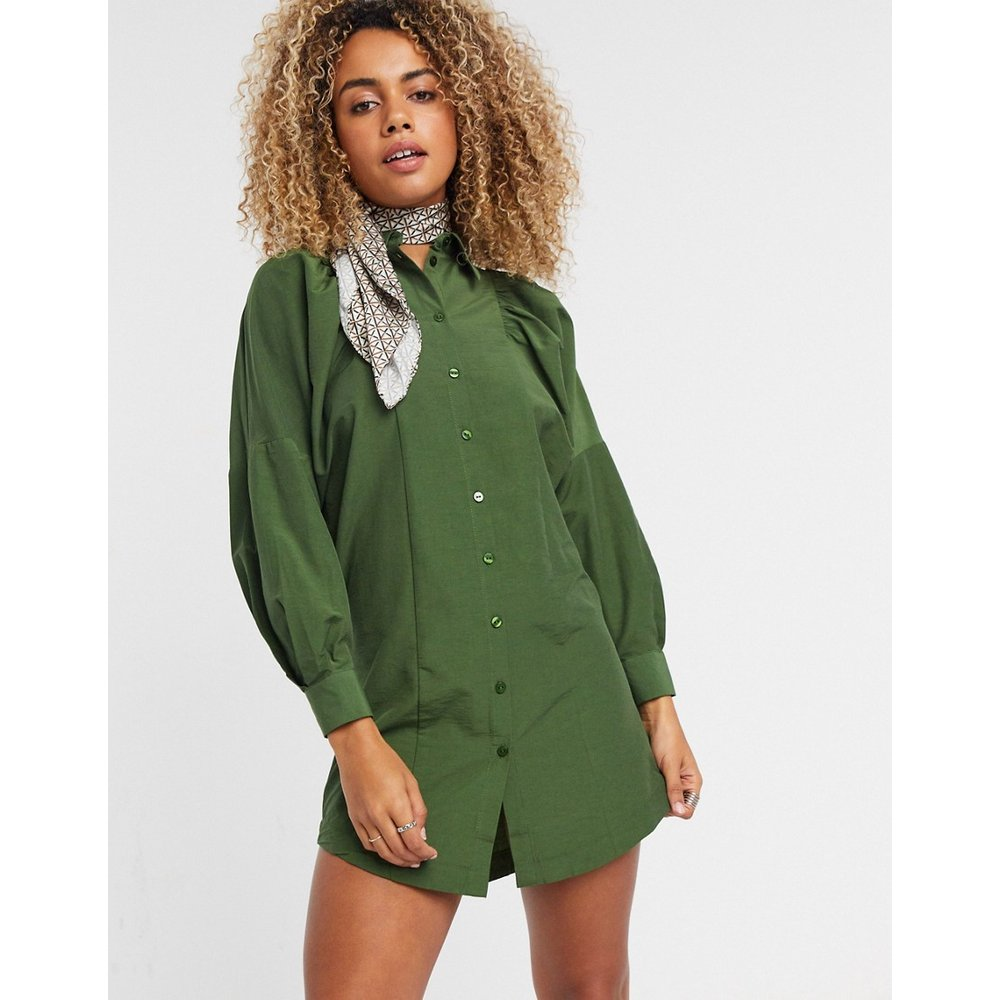 Robe chemise courte texturée - Kaki - Topshop - Modalova