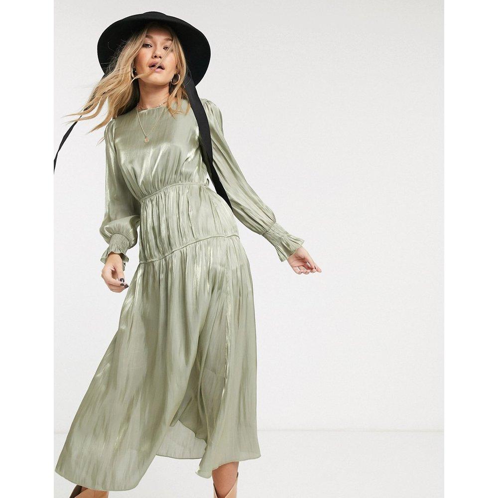 Robe mi-longue avec détail froncé - Sauge - Topshop - Modalova