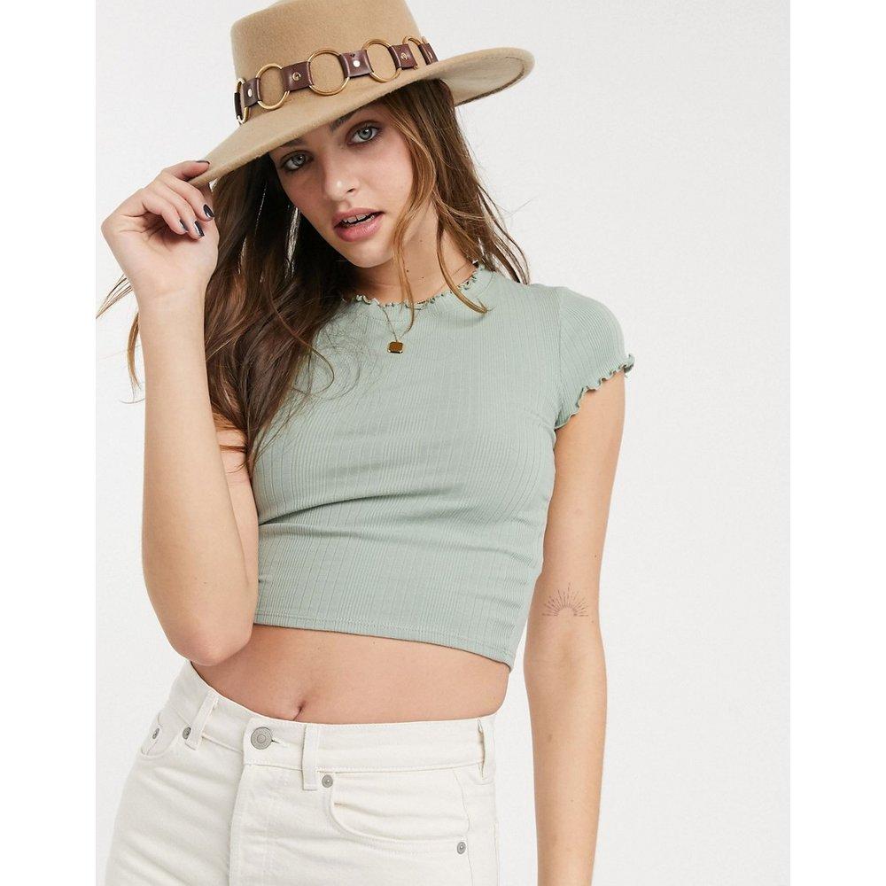 T-shirt côtelé à bordure ondulée - Sauge - Topshop - Modalova