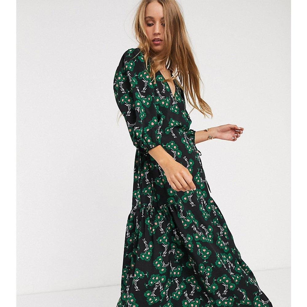 Robe mi-longue torsadée sur le devant à imprimé floral - Topshop Tall - Modalova