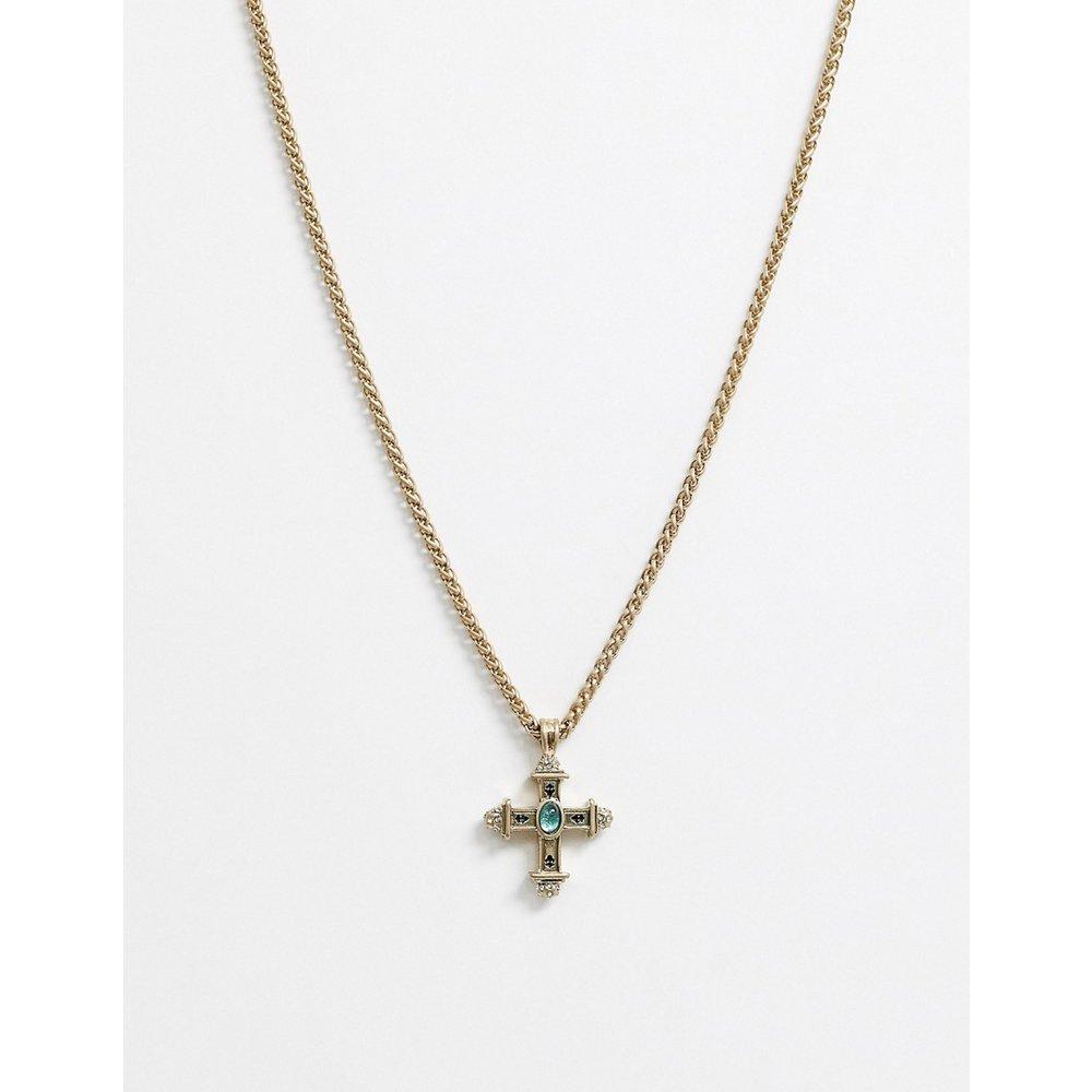 Collier chaîne avec pendentif croix orné d'une pierre fantaisie - Uncommon Souls - Modalova