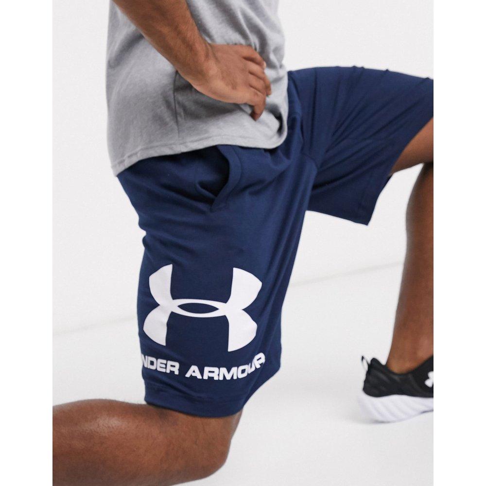 Short de sport en coton avec logo - Bleu marine - Under Armour - Modalova