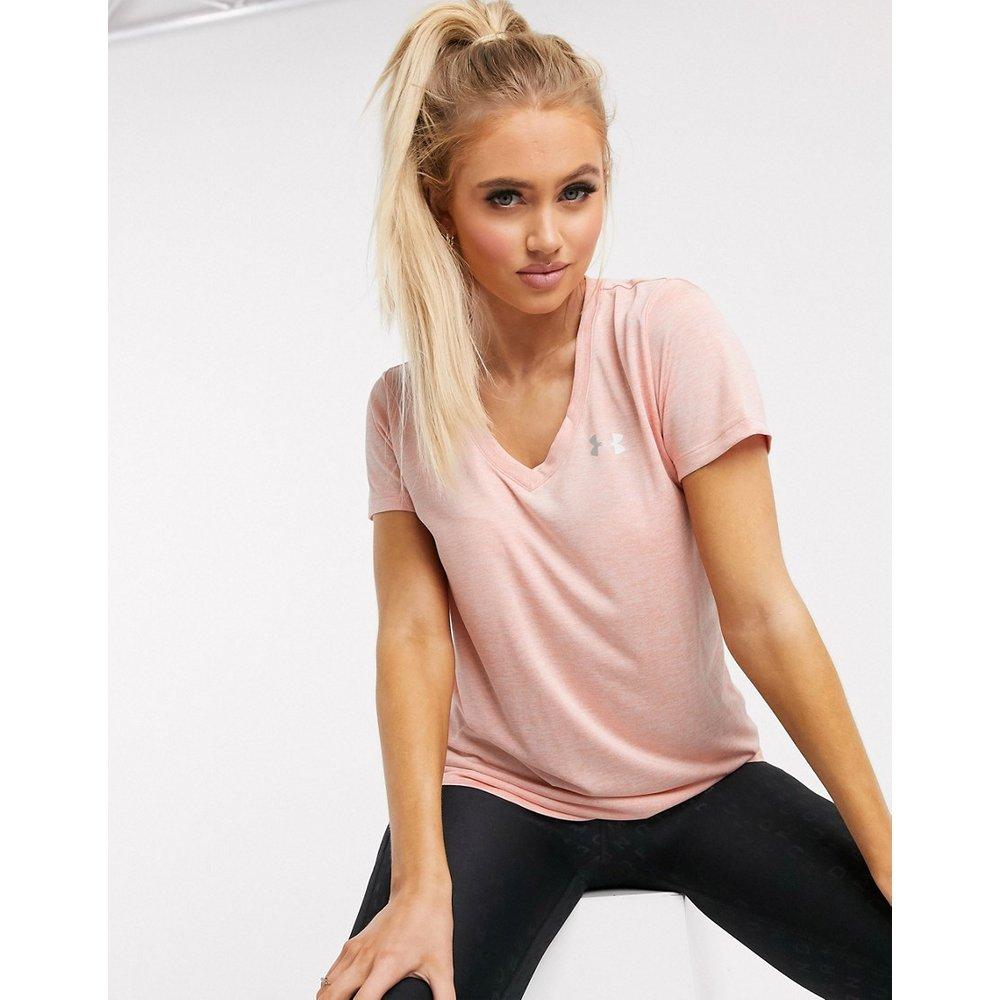 T-shirt col V en tissu technique - Pêche - Under Armour - Modalova