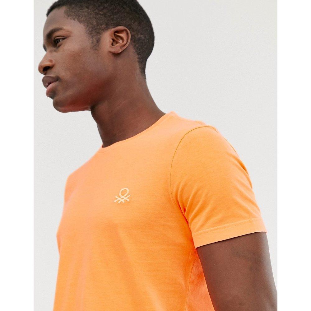 T-shirt ras de cou à logo surpiqué - United Colors of Benetton - Modalova
