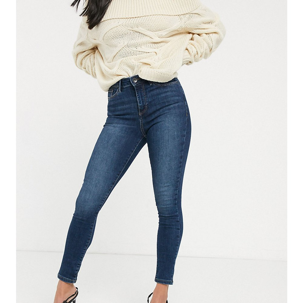 Jean skinny à taille haute - délavé moyen - Vero Moda Petite - Modalova