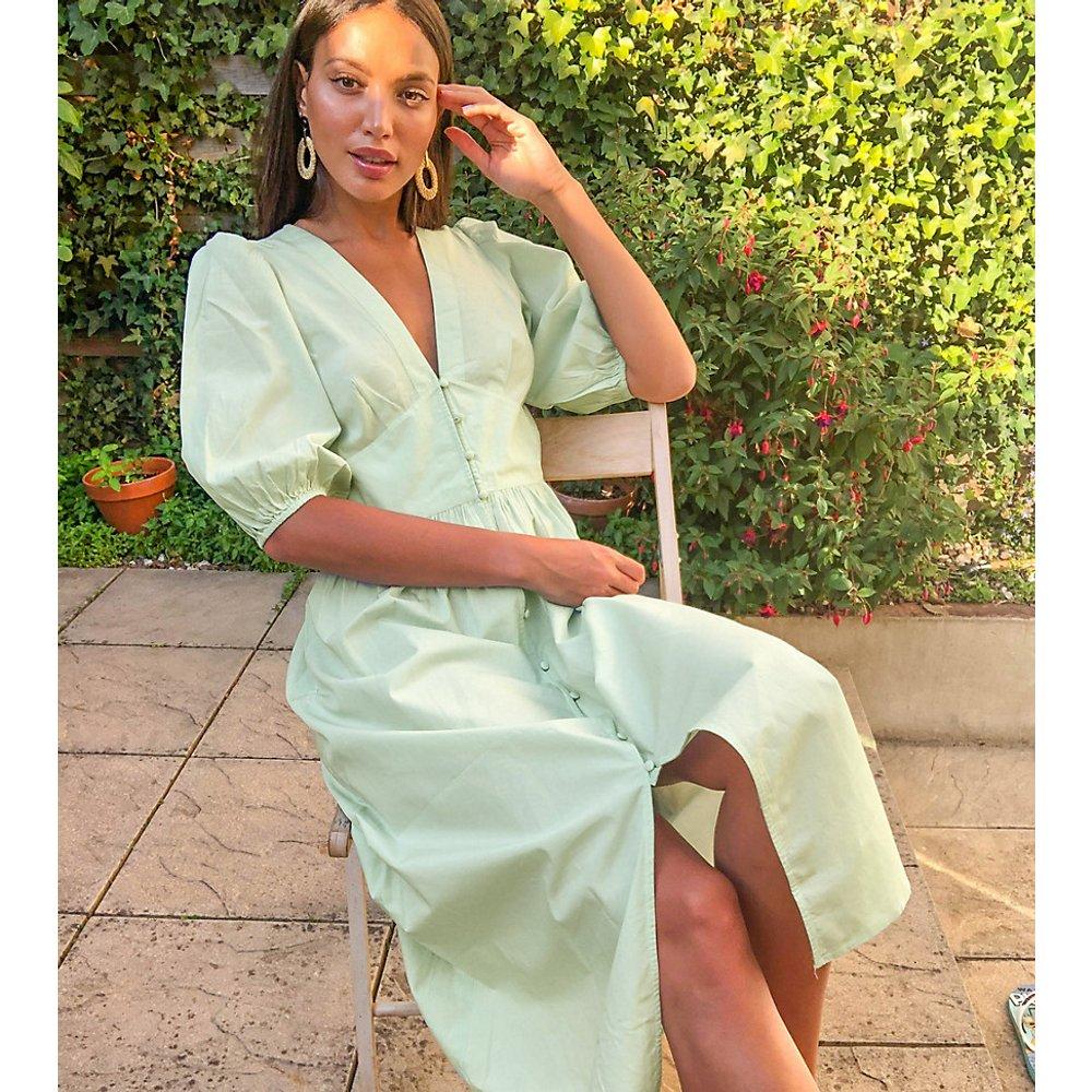 Robe mi-longue à manches bouffantes - clair - Vero Moda Tall - Modalova