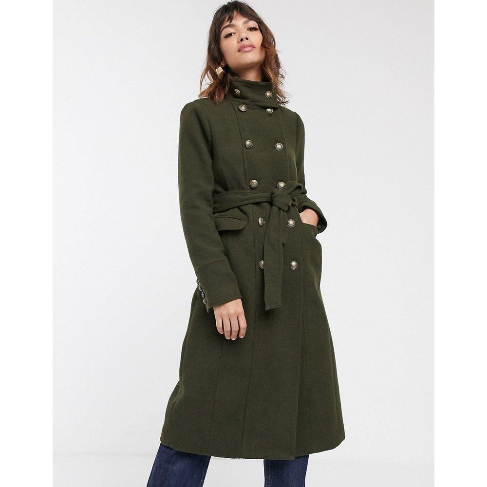 Manteau ajusté à col cheminée style militaire - Kaki - Warehouse - Modalova