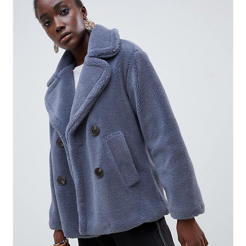 Manteau façon peluche à fermeture croisée - Bleu - Warehouse - Modalova