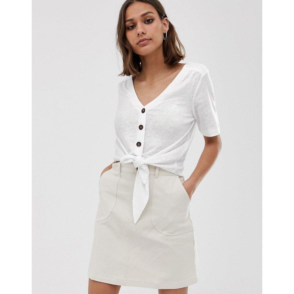 T-shirt en lin boutonné et noué sur le devant - Whistles - Modalova